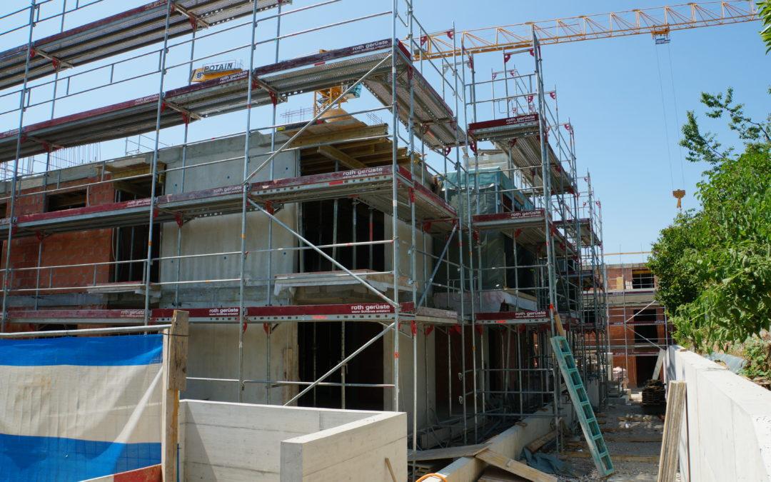 Decke 2. OG Haus A, Decke Attika Haus B in Arbeit